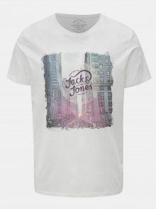 Bílé tričko s potiskem a krátkým rukávem Jack & Jones Autumn city