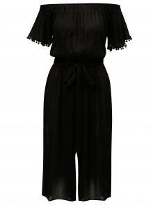 Černý zkrácený overal s odhalenými rameny Dorothy Perkins