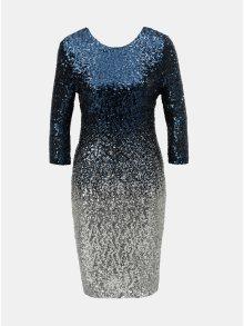 Tmavě modré flitrované šaty s ombré efektem a 3/4 rukávem Dorothy Perkins