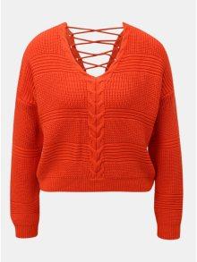 Červený zkrácený volný svetr se šněrováním Miss Selfridge