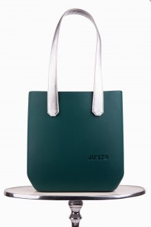 Justo kabelka J-Half Verde Petrolio se stříbrnými dlouhými koženkovými držadly