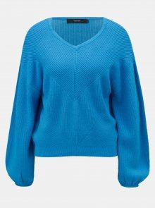 Modrý pletený svetr s balónovými rukávy VERO MODA Diva
