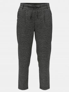 Šedo-černé vzorované kalhoty s elastickým pasem ONLY Poptrash