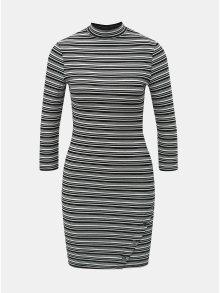 Bílo-černé pruhované pouzdrové šaty s 3/4 rukávem TALLY WEiJL
