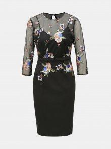 Černé pouzdrové šaty s výšivkou Little Mistress
