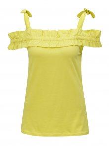 Žluté tílko s volánem a ramínky na zavazování Dorothy Perkins
