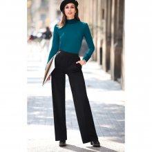Venca Rovné kalhoty s vysokým pasem černá 36