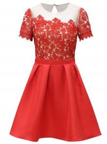 Červené šaty s krajkovým topem Little Mistress