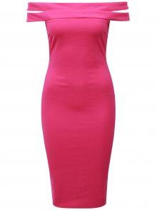 Tmavě růžové pouzdrové šaty s odhalenými rameny AX Paris