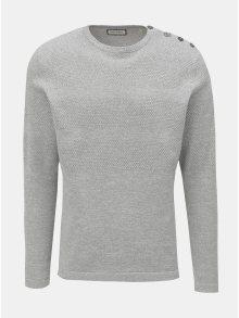 Světle šedý vzorovaný svetr s knoflíky u krku Shine Original