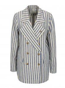 Modro-béžové pruhované lněné sako s broží ve stříbrné barvě Scotch & Soda