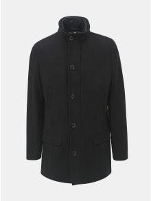 Černý kabát s příměsí vlny a s odnimatelnou přední vsadkou Selected Homme Hannover