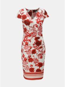 Červeno-krémové pouzdrové květované šaty Dorothy Perkins