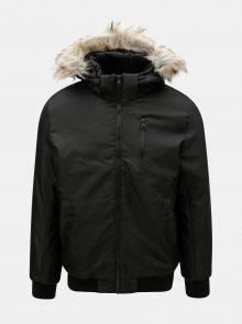 Černá zimní bunda s umělým kožíškem ONLY & SONS