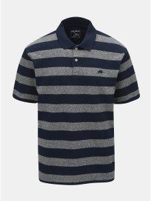 Šedo-modré pruhované polo tričko s krátkým rukávem Raging Bull