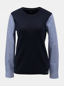 Tmavě modrý lehký svetr s všitými košilovými rukávy Nautica