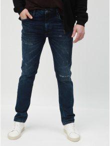 Modré slim džíny s potrhaným efeketem Lindbergh