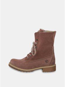 Starorůžové semišové kotníkové voděodpudivé zimní boty Tamaris