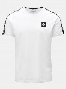Bílé tričko s nášivkou a lemem Jack & Jones Kenny