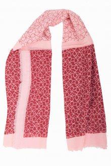Calvin Klein červený šátek CK Allover Check Scarf