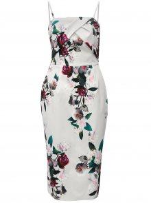 Světle šedé květované pouzdrové šaty bez ramínek Dorothy Perkins
