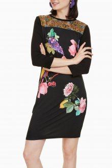 Desigual černé šaty Vanity s barevným potiskem  - XS