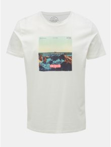 Bílé tričko s potiskem Jack & Jones Social