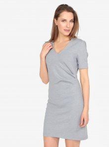 Světle šedé žíhané šaty s véčkovým výstřihem a řasením VERO MODA Jenny