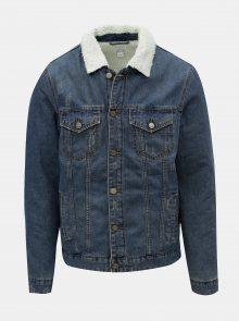Modrá džínová bunda s umělým kožíškem ONLY & SONS Louis