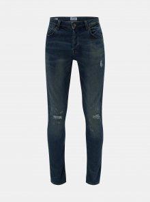 Modré slim džíny s otrhaným efektem ONLY & SONS Spun