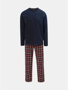 Dvoudílné pánské pyžamo v tmavě modré a vínové barvě Tommy Hilfiger