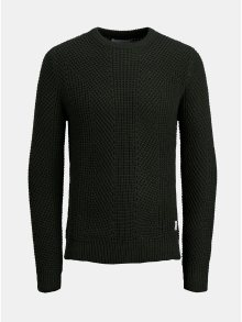 Tmavě zelený pletený svetr Jack & Jones Stanford
