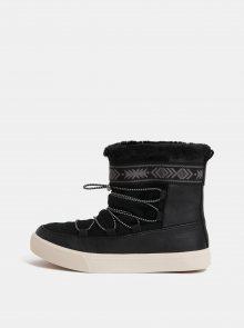 Černé dámské kožené zimní kotníkové boty TOMS Alpine