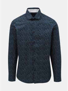 Tmavě modrá vzorovaná slim fit košile Selected Homme Mark