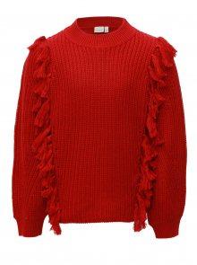Červený holčičí svetr s třásněmi name it Louise
