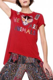 Desigual červené tričko Tris - XS