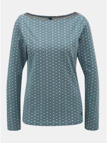 Světle modré vzorované tričko s lodičkovým výstřihem Tranquillo Leila