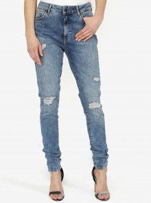 Modré slim fit džíny s potrhaným efektem Noisy May Nelly