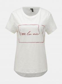 Krémové tričko s potiskem VERO MODA Cestla