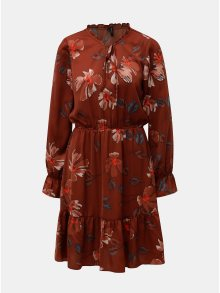 Hnědé květované šaty s volány VERO MODA Isla