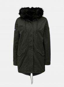 Khaki dámská parka s kapucí a umělým kožíškem Superdry