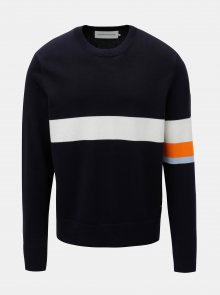 Tmavě modrý pánský svetr s pruhy Calvin Klein Jeans
