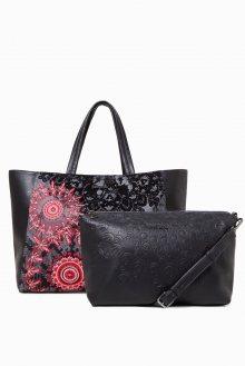 Desigual černá kabelka s červeným vzorem Red Queen Cuenca