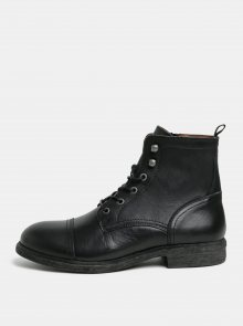 Černé pánské kožené kotníkové boty Selected Homme Therrel
