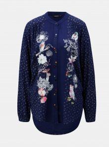 Tmavě modrá košile s potiskem a prodlouženým zadním dílem Desigual Francis