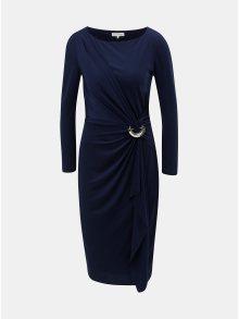 Tmavě modré šaty s volánem s kovovou ozdobou Lily & Franc by Dorothy Perkins