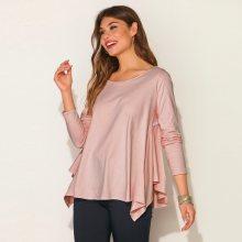 Venca Asymetrické tričko s nařasením růžová S