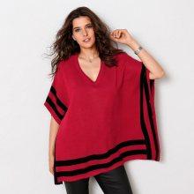 Blancheporte Pončo pulovr s grafickými pruhy červená/černá 38/40