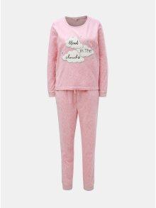 Růžové dvoudílné fleecové pyžamo s motivem mraků Dorothy Perkins