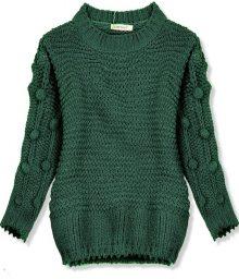 Zelený svetr s bambulkami